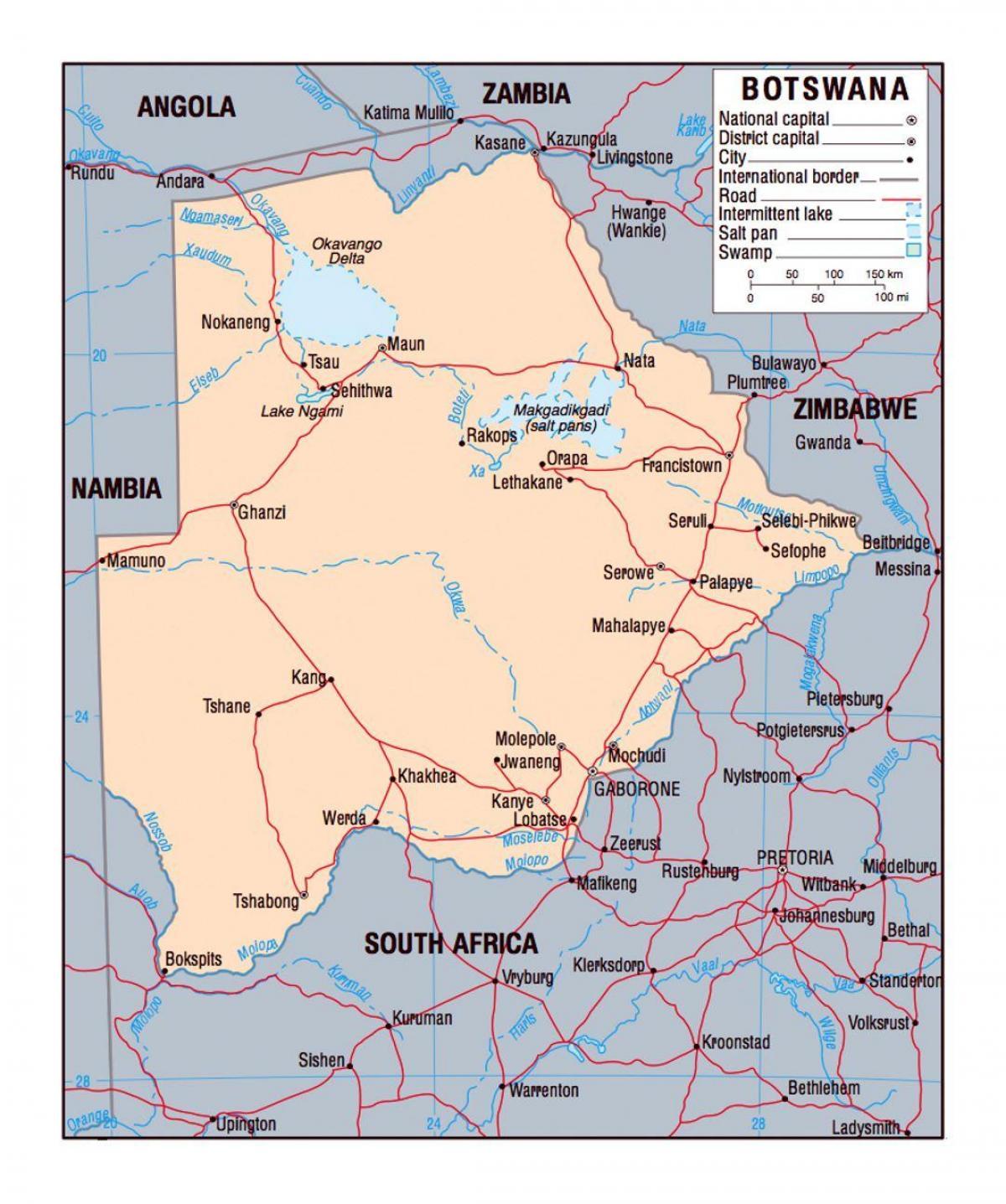 Botswana Political Map.Botswana Political Map Map Of Botswana Political Southern Africa
