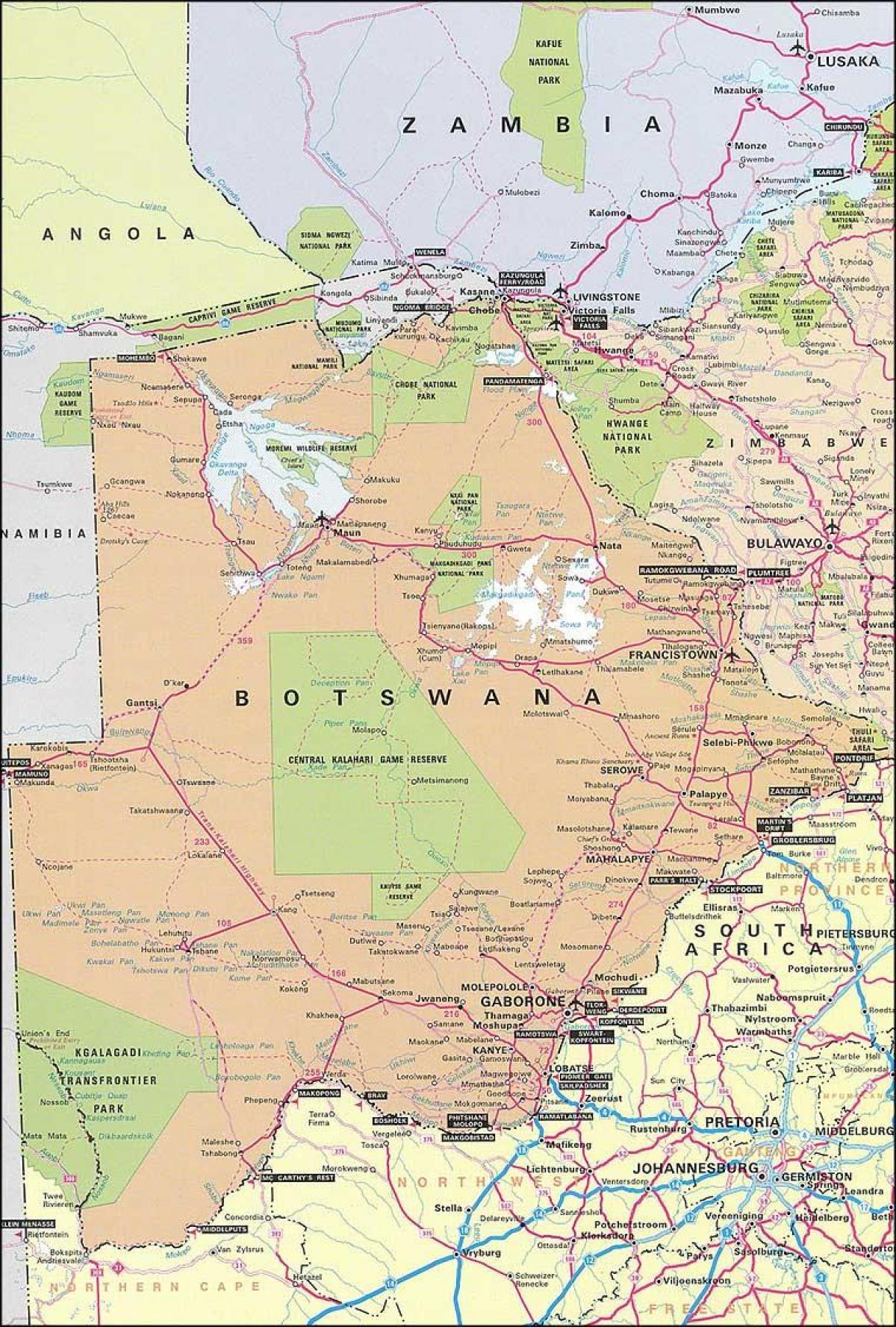 Botswana roads map   Road map of Botswana (Southern Africa   Africa)