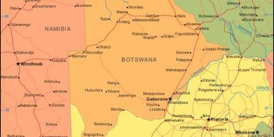 Map of Botswana showing all villages