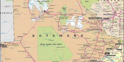 Map of detailed road map of Botswana